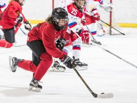 Highlights from Team Black vs Team Russia in a U18 game during Hockey Canada's women's summer development team camp at Winsport's Markin McPhail Centre in Calgary, Alberta on August 10, 2017.